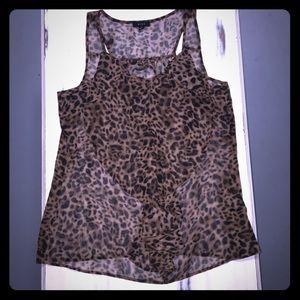 Ruffle cheetah sheer sleeveless top
